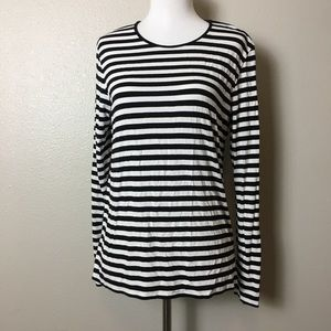 CHICOS Striped Long Sleeve Tee Stripes